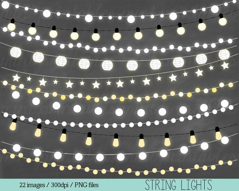 Lights Clipart, Fairy Lights Clipart Clip Art, String Lights Clipart,  Holiday Christmas Lights.