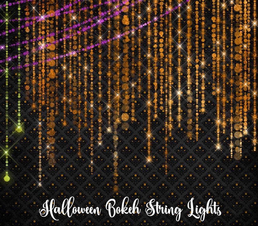 Halloween Bokeh String Lights Clipart.