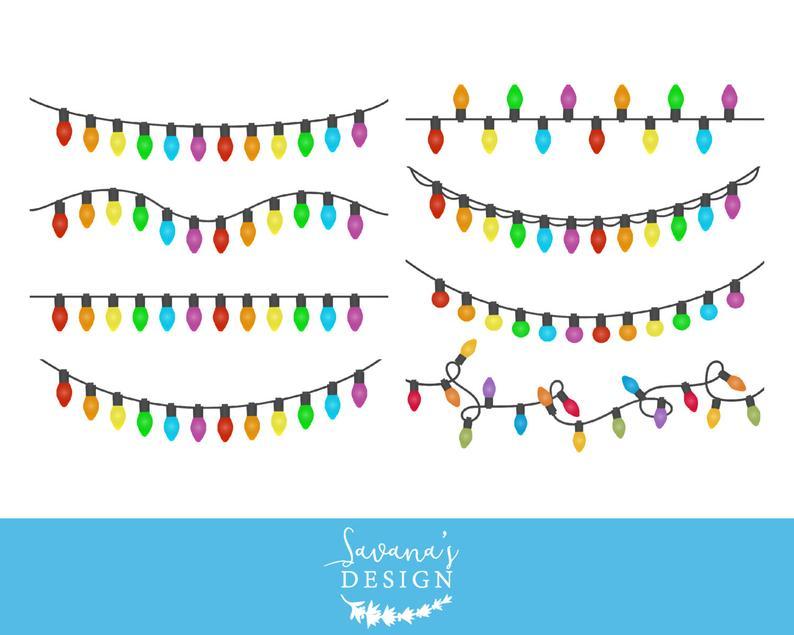 Christmas lights clipart, Christmas lights clip art, String of Christmas  lights, Xmas lights clipart, light bulb clipart, Cricut Designs.