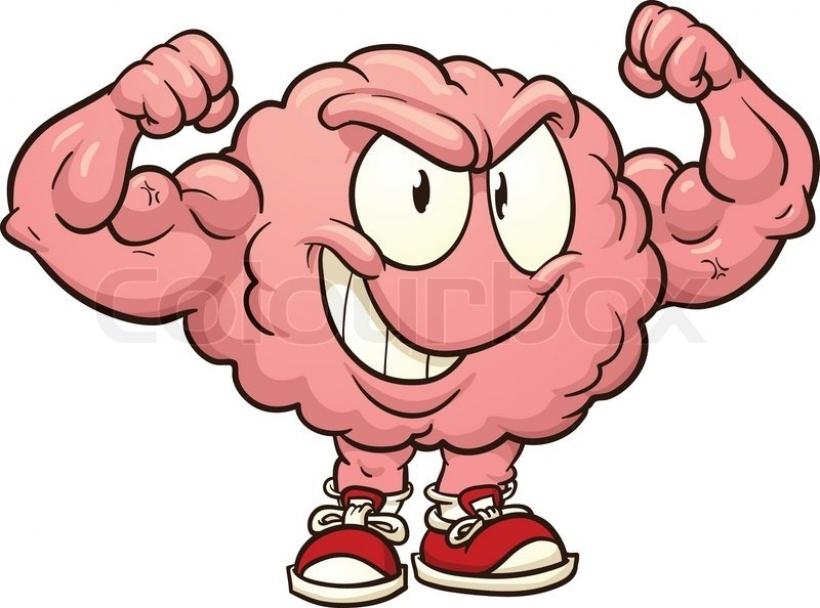 Cute brain clipart cute brain clipart strong cartoon brain vector.