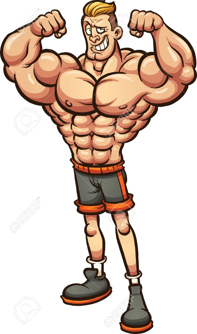 Strong man with skinny legs. Vector clip art illustration with...
