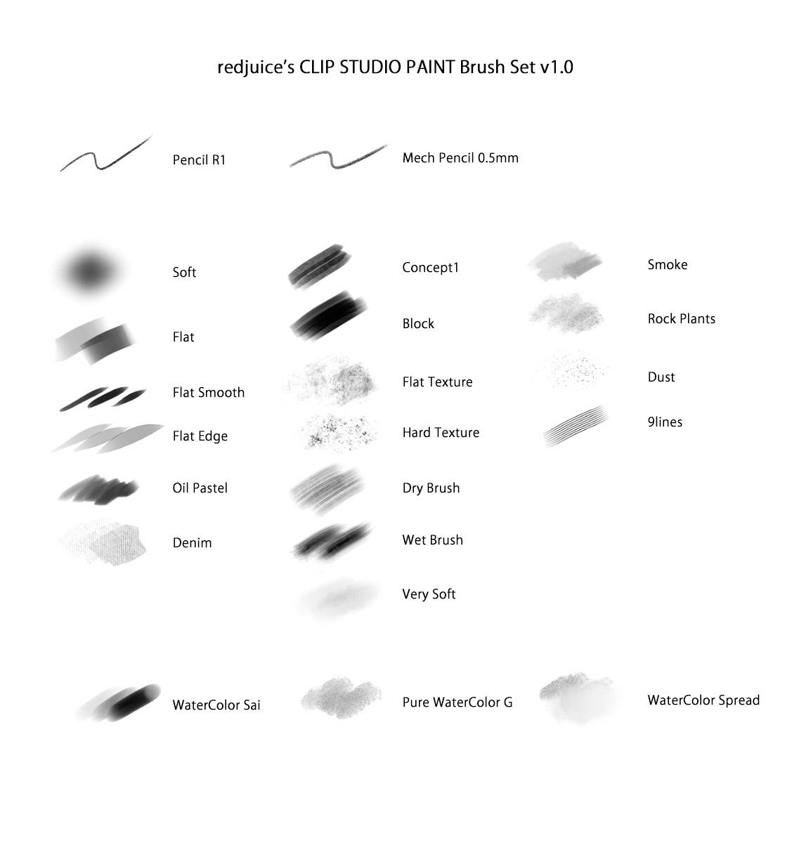 redjuice's Brush Set for CLIP STUDIO PAINT by redjuice999 on DeviantArt.