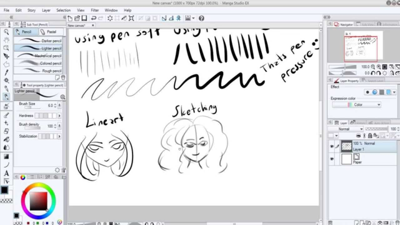 Brush Settings For LineArt+Sketching on Manga Studio Ex5.