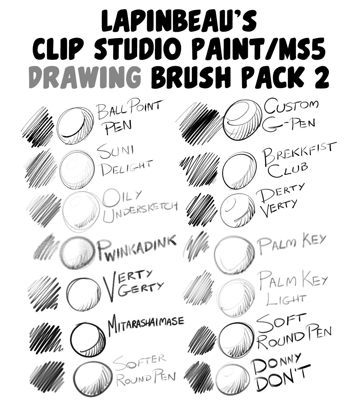 LapinBeau Clip Studio Paint DRAWING BRUSH PACK 2 by lapinbeau.
