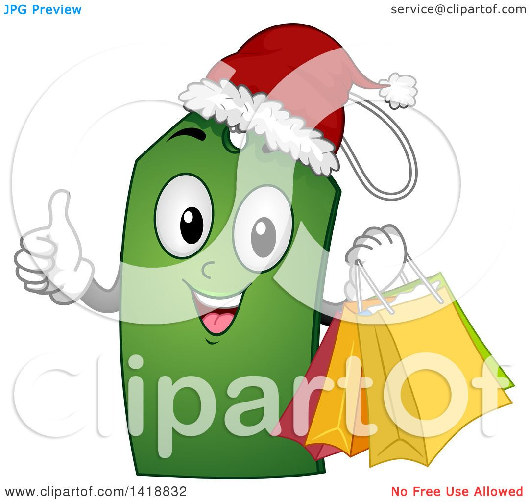 Clipart of a Christmas Price Tag Character Giving a Thumb up.