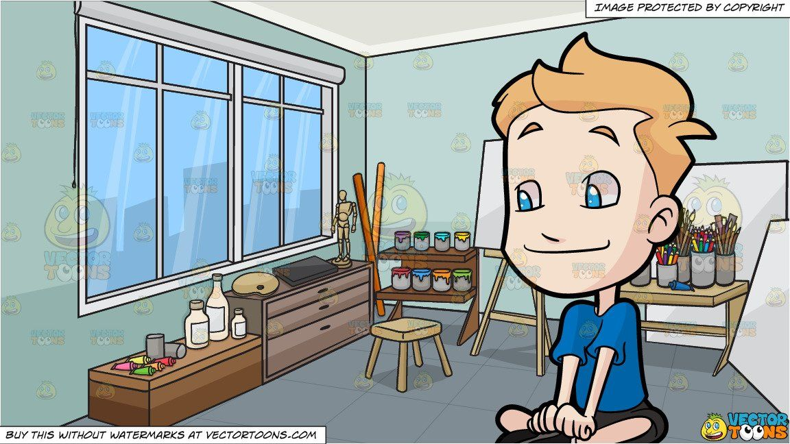 A Boy Listening Attentively and An Art Studio Background.