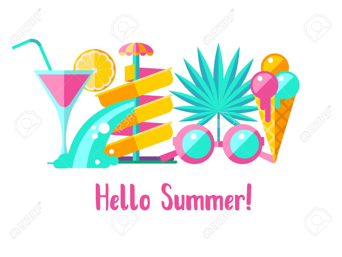 Hello summer. Vector illustration. A set of clipart on the theme...