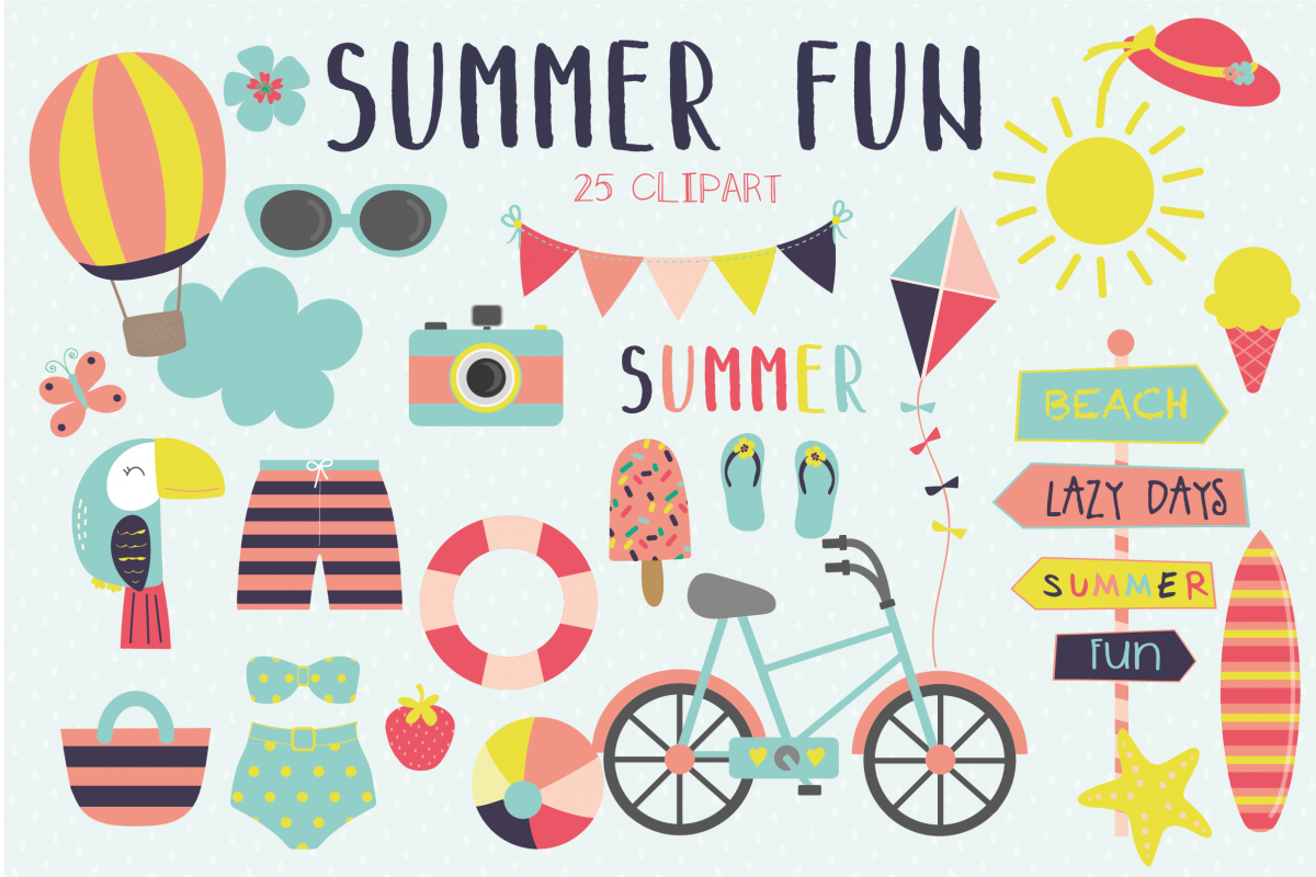 Summer fun clipart and paper set.