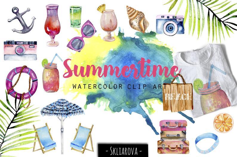 Summer clip art Summertime illustration Watercolor sea clipart Sun Cocktail  Ocean Beach Rest Digital art Travel clip art Summer holiday set.