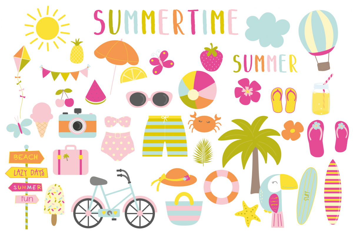 Summertime set, clipart and papers.