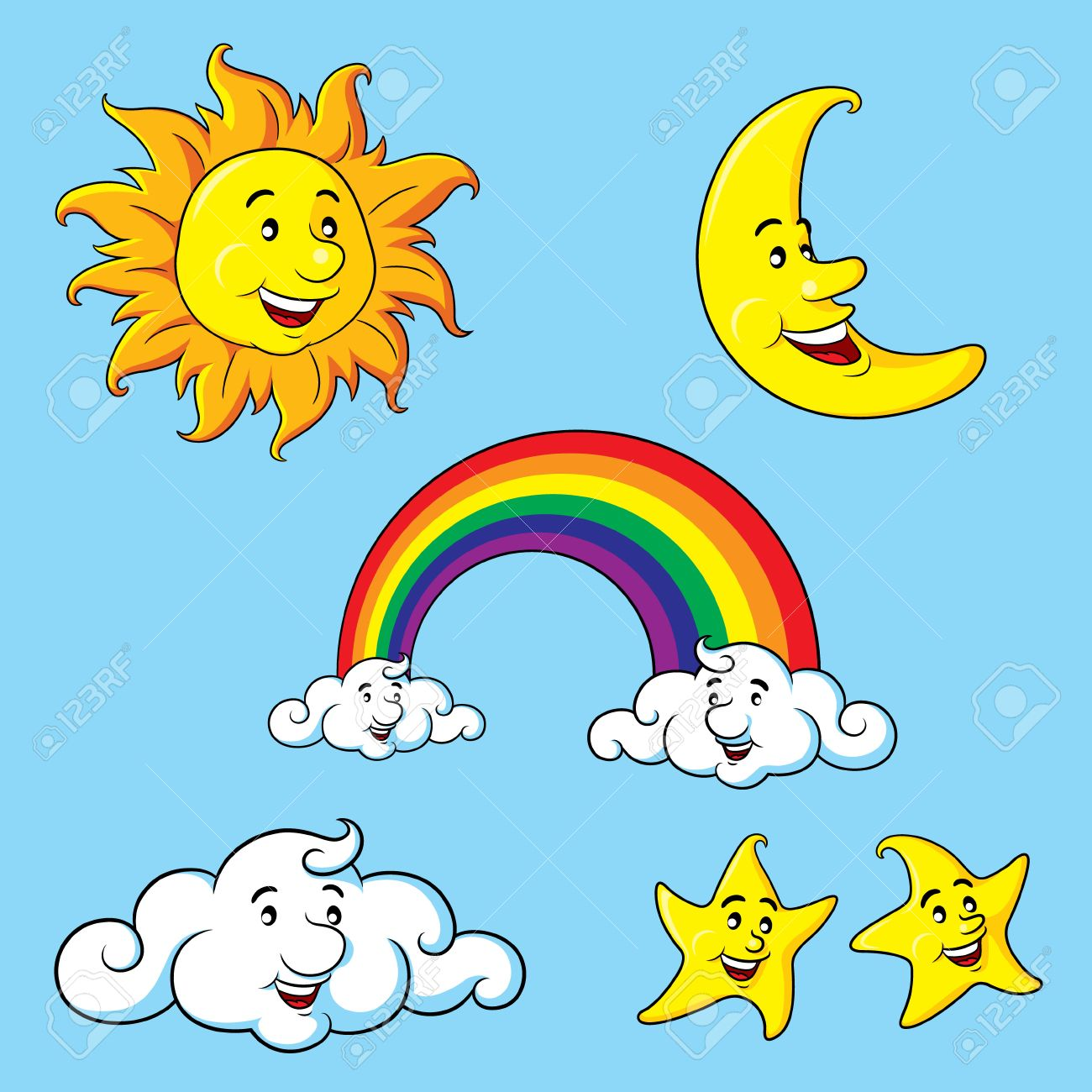 Sun, moon, stars, clouds rainbow cartoon..