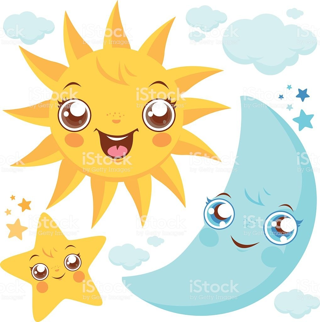 Vector illustration set of cute smiling cartoon sun, moon, stars and.