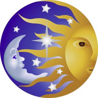 Sun Moon And Stars clip art.