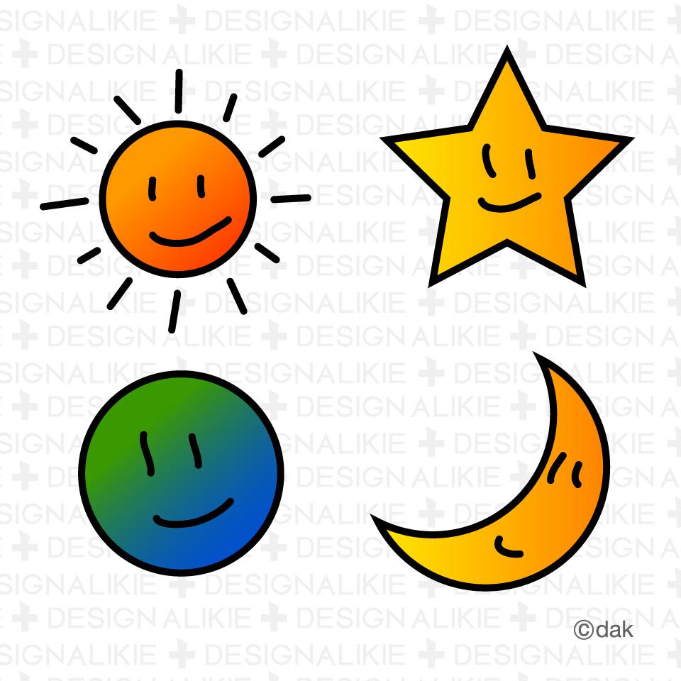 Sun Moon Stars Clip Art N8 free image.