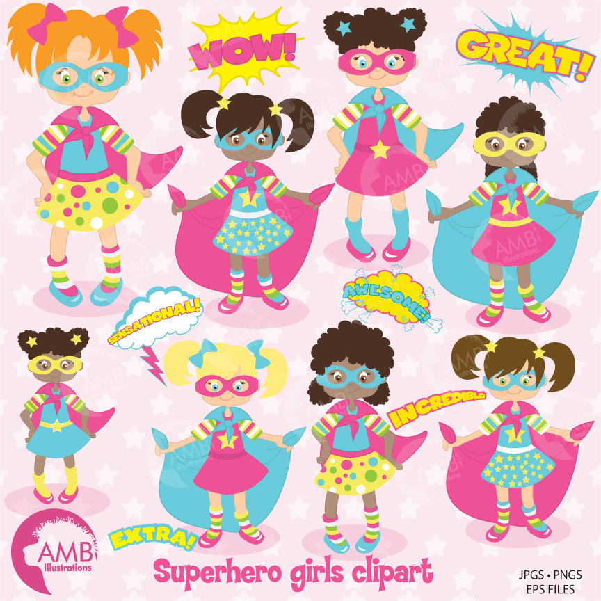 Superhero clipart, Super Girl Clipart in Pinks, Super Hero Girls Clipart,  Super Hero Word Bursts, Callouts, AMB.
