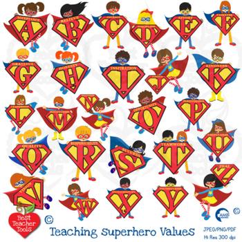 Superhero letters Clipart, superhero alphabets and values! Teach values  AMB.