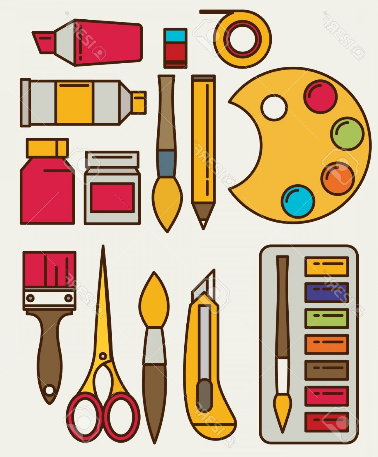 Photostock Vector Colored Flat Design Vector Illustration Icons Set.