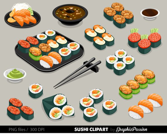Sushi Set Clipart Food clipart Japan food clipart Sushi Clipart.