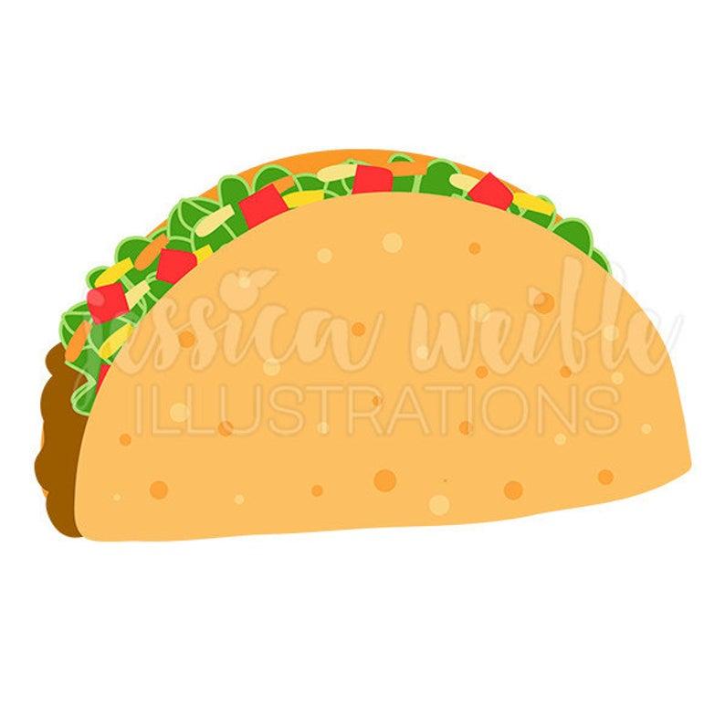 Crunchy Taco Cute Digital Clipart, Taco Clip art, Taco Graphic, Mexican  Food, Cinco de Mayo, Taco Illustration, #1681.