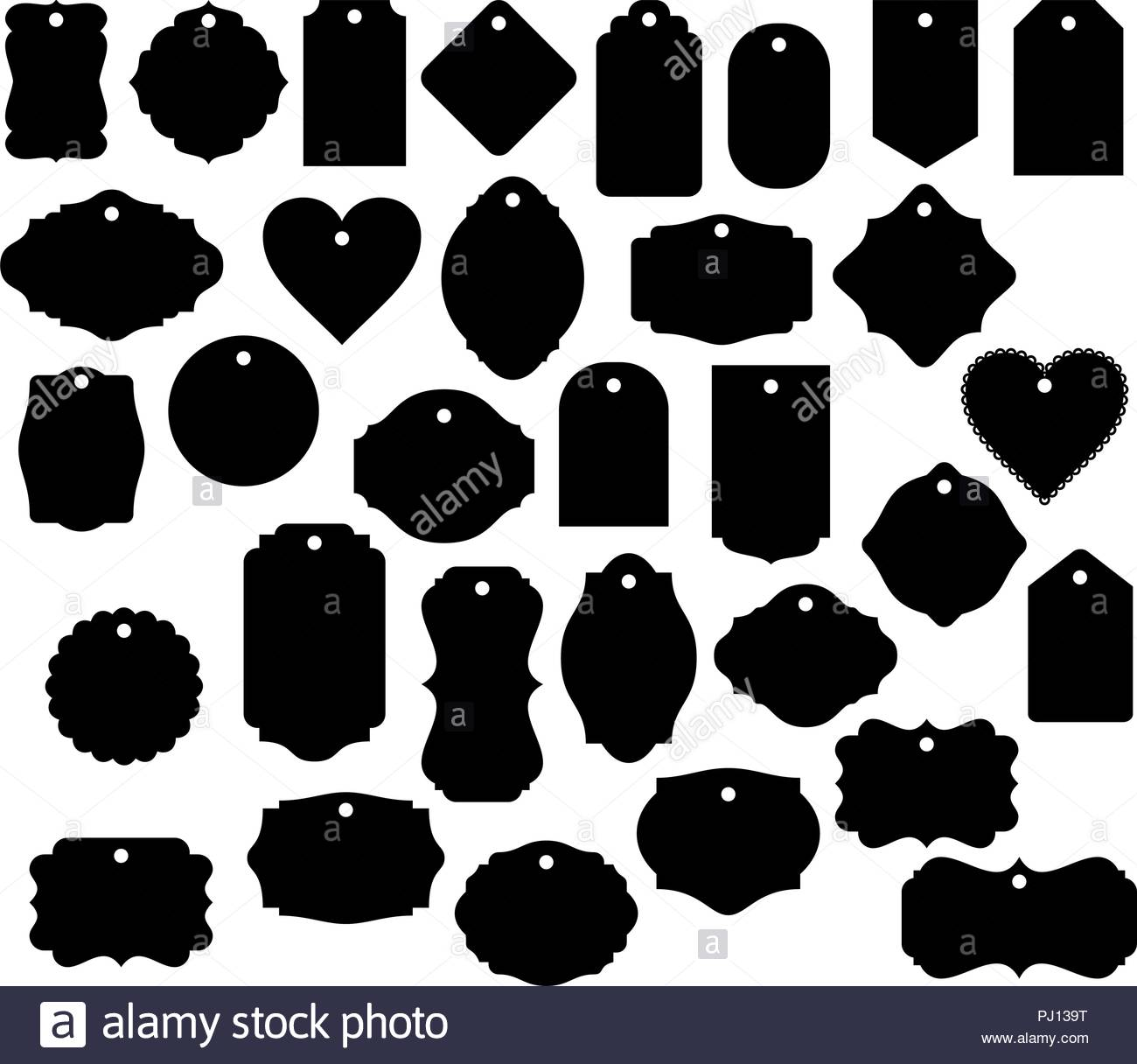 Gift Tag Shapes vector clip art isolated luggage tag decorative.