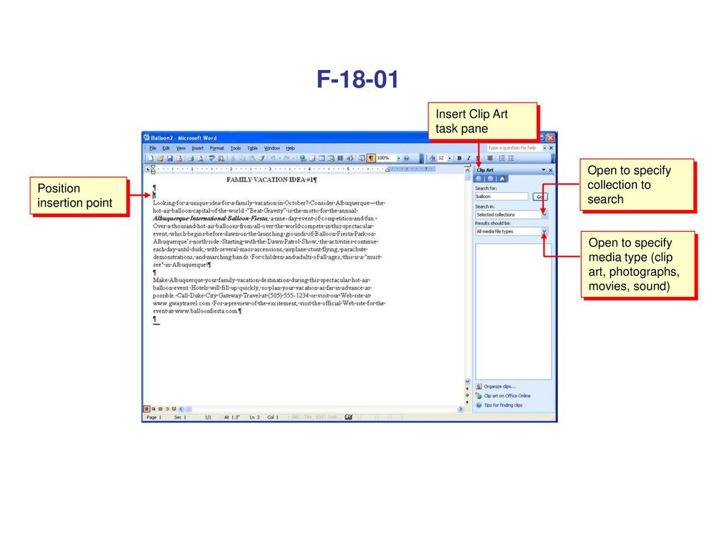 F Insert Clip Art task pane Open to specify collection to search.