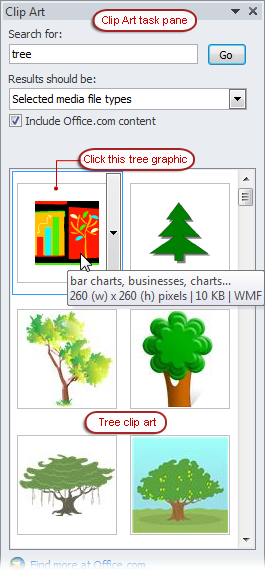 Clip art task pane with tree graphic.