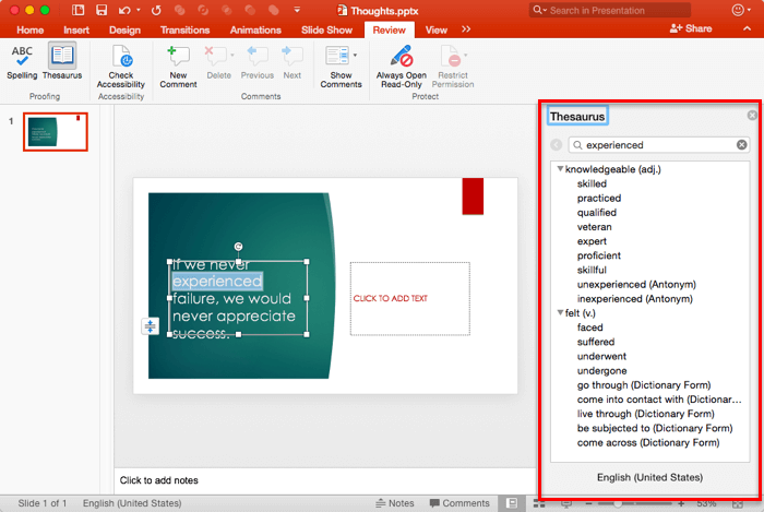 Task Pane in PowerPoint 2016 for Mac.