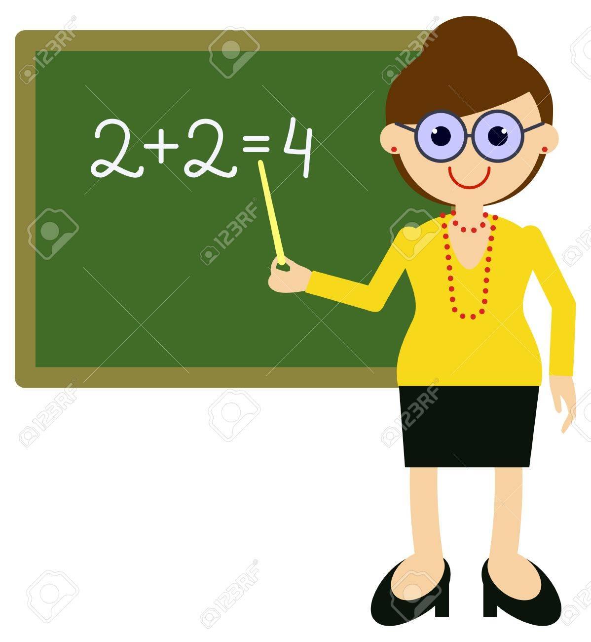 Teacher near blackboard. Vector clip art..
