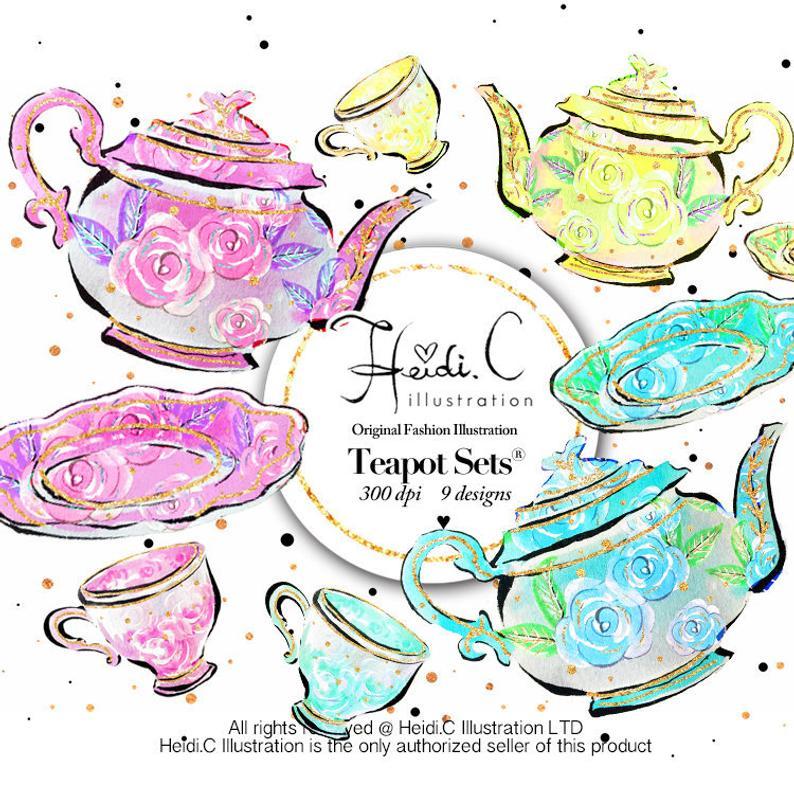 Teacup Clipart Teapot Clip art Watercolor Bridal Tea Party Invitation  Teacups Tea Pot Clipart Tea Time Girly Girl Party Birthday Clipart.