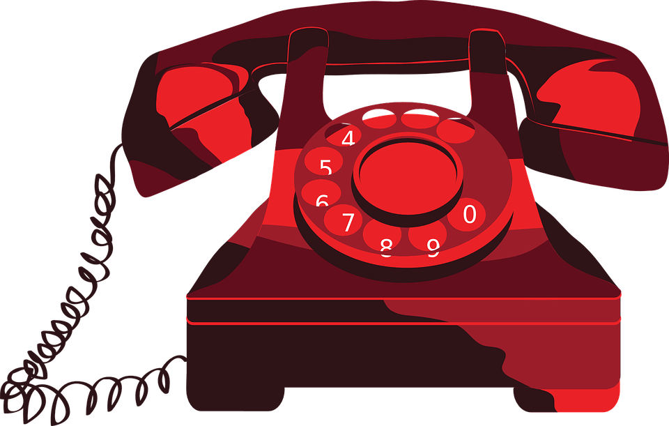 Red Telephone Clipart transparent PNG.