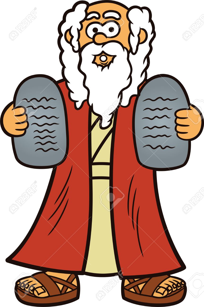 Moses with Two Stones of Ten Commandments Cartoon Illustration.