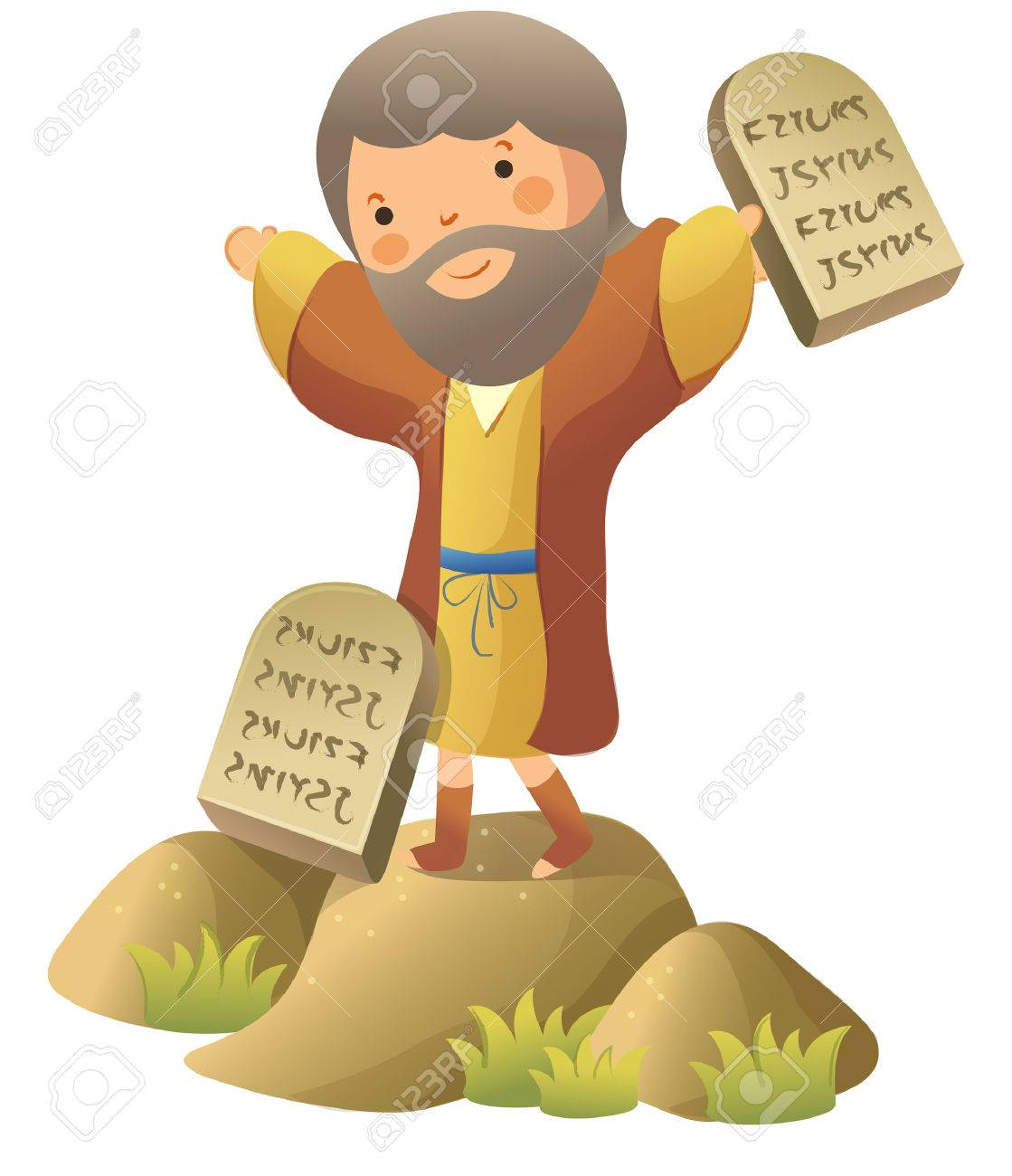 Moses standing and holding ten commandments.