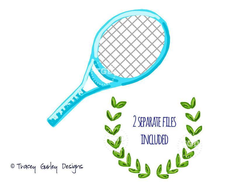 Tennis racket clip art, flourish clipart, sports clip art, sports clipart,  preppy art, invitation design, digital clipart, tennis racquet.