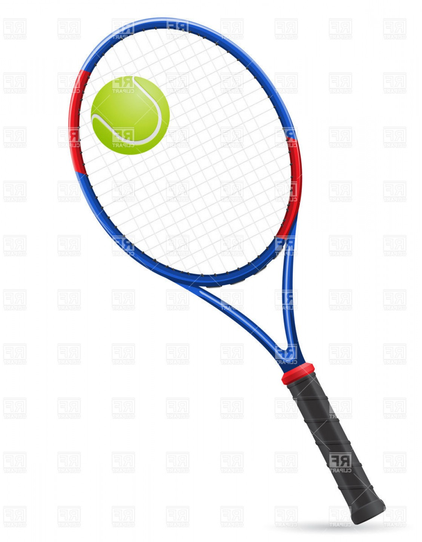 Tennis Racket And Ball Vector Clipart.