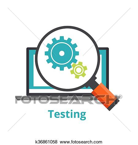 Testing laptop applications. flat illustration isolated on white  background. Clip Art.
