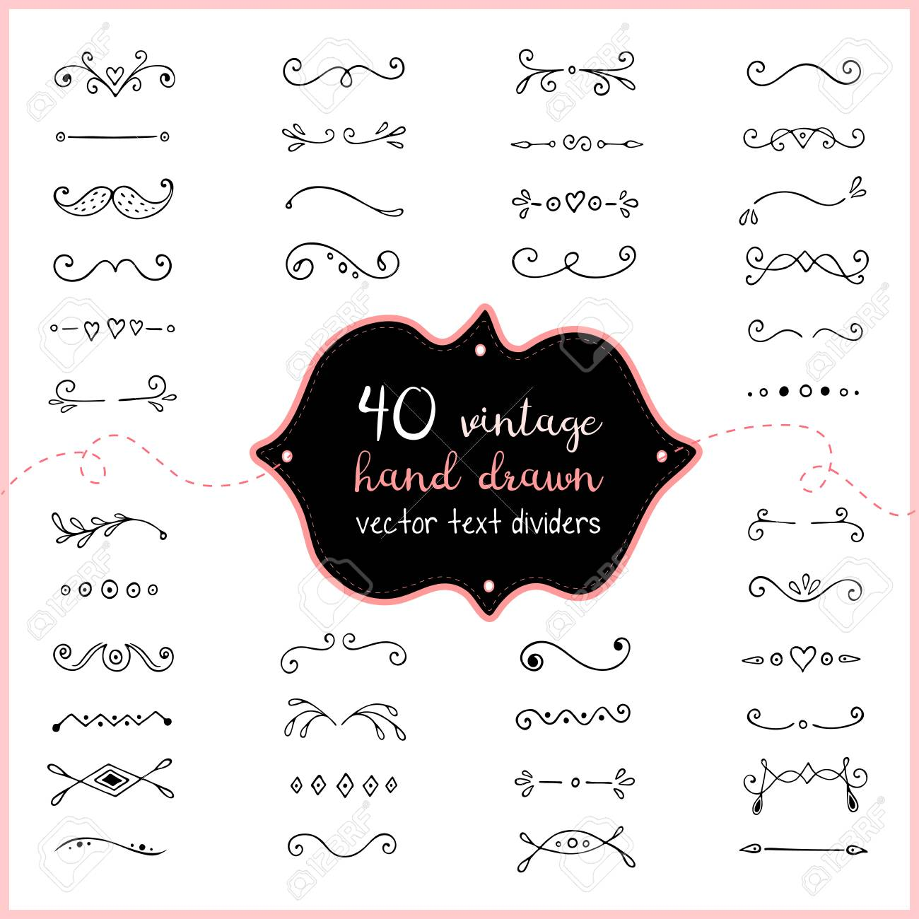 Hand drawn text dividers vector, doodle dividers vintage decorations.
