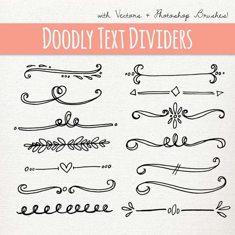 Doodly Text Divider Clip Art // Vector PS Brushes PNG files // Hand Drawn  Graphics // Calligraphy Typography Lettering // Commercial Use.