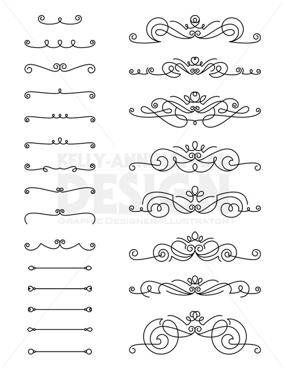 Flourishes Clipart, Text Divider, Digital Border, Decorative Divider.