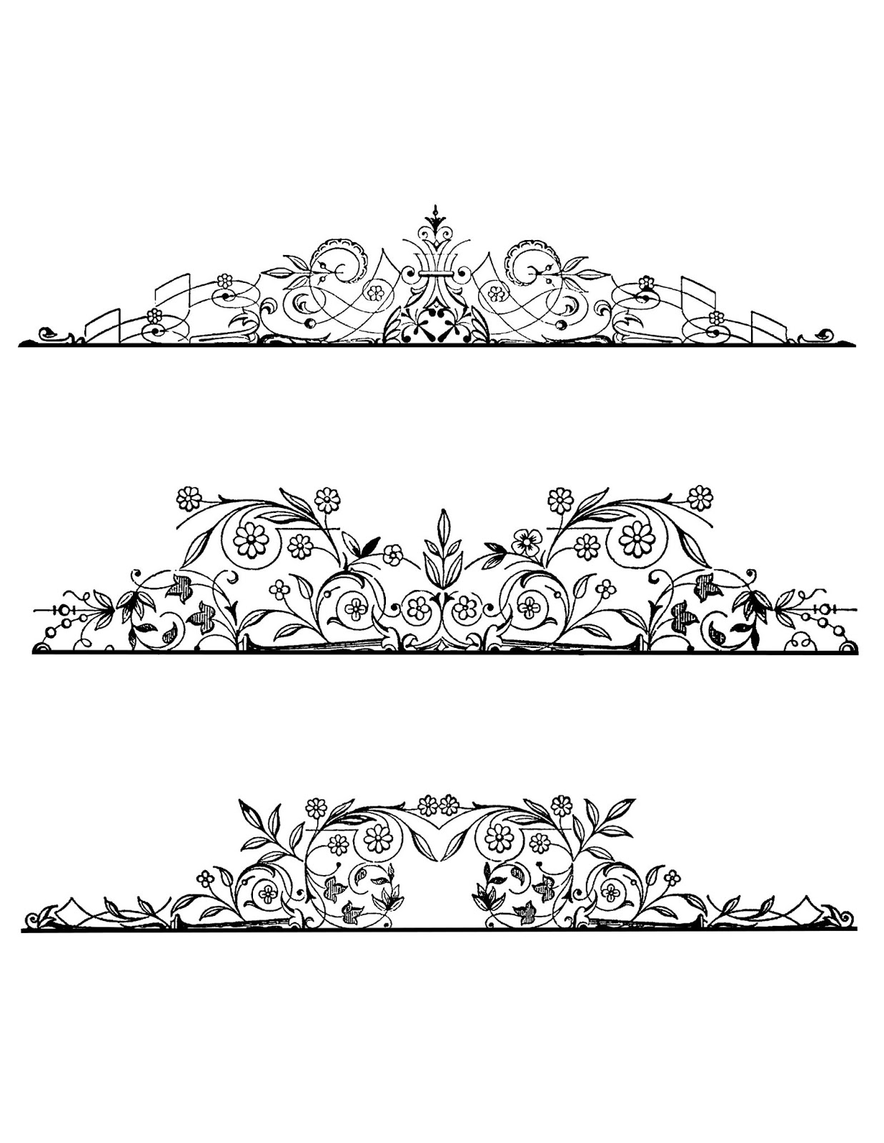 The Graphics Monarch: Free Clip Art Digital Page Text Divider Floral.