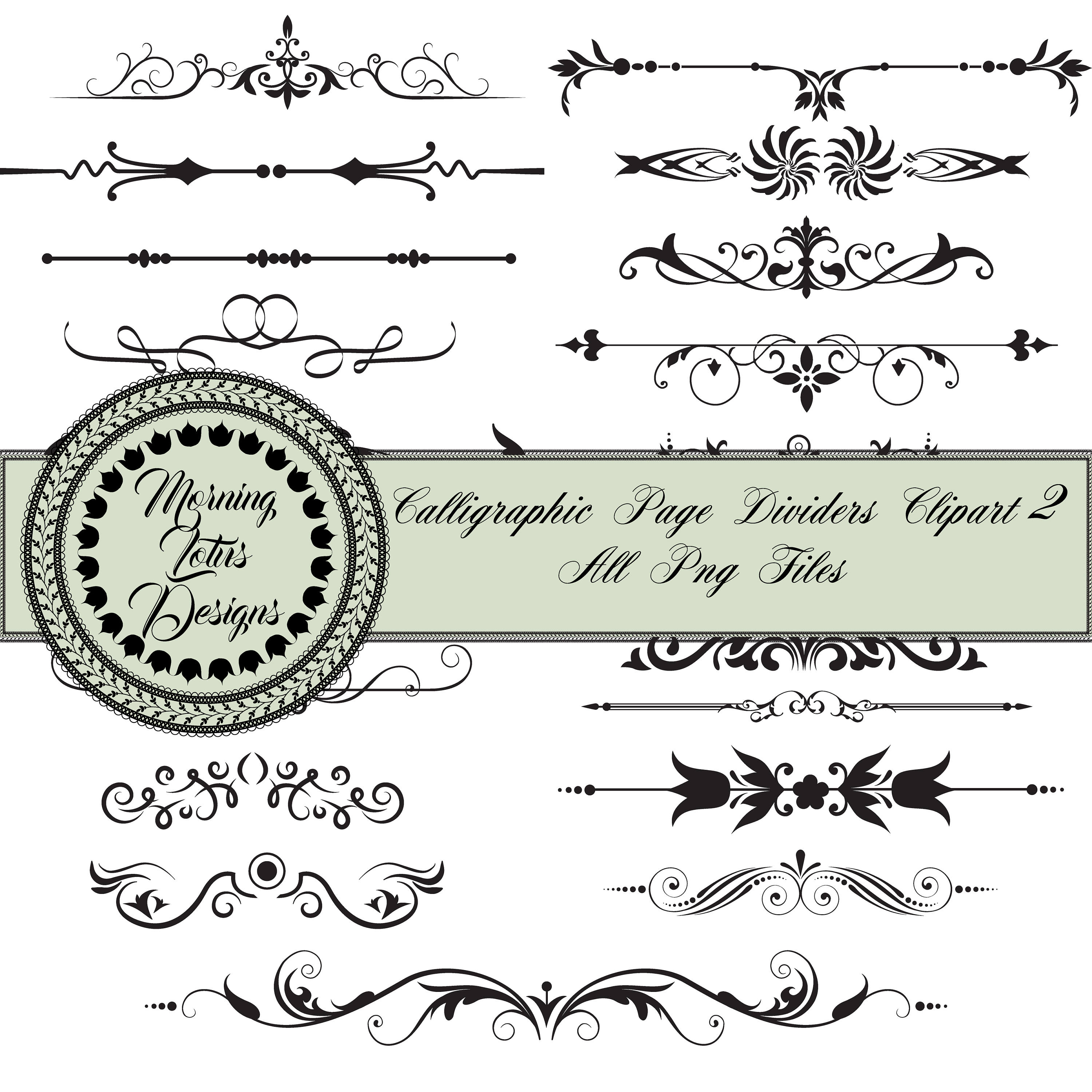 Line Dividers,Page divider clipart, Text Divider Clipart, Decorative  Dividers, Digital text dividers, Wedding Dividers , Ornamental Divider.