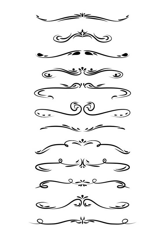 Wedding Clipart, Page Divider Clipart, Line Dividers, Flourish.
