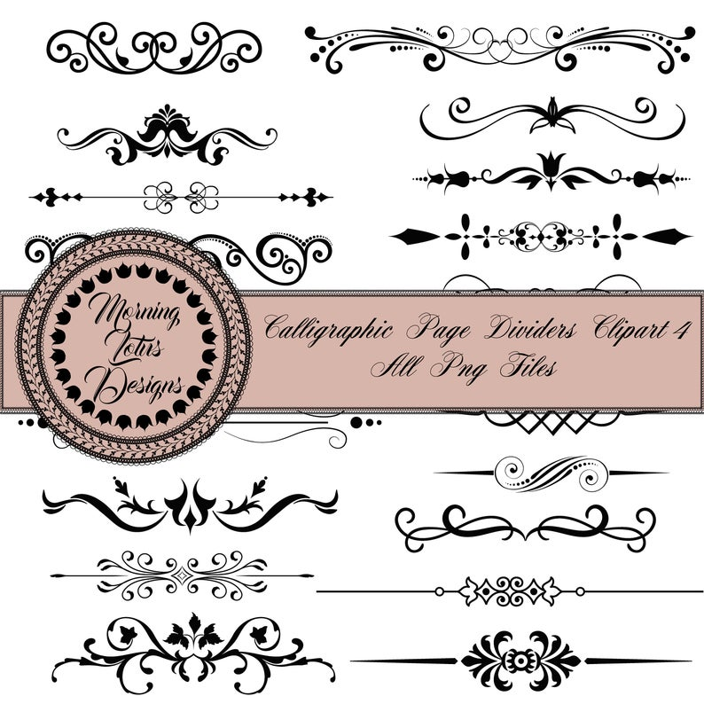 Clip art dividers, digital divider, line clip art, text divider, digital  page dividers, divider lines digital, page divider,instant download.