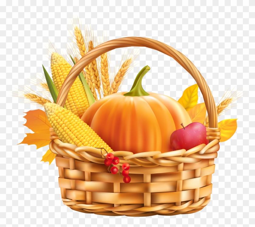 Autumn Harvest Basket Png Clipart Image.