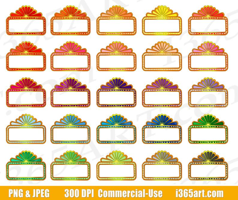 50% OFF Movie Marquee Clipart, Theater Sign Clip Art, Marquee Signs, Movie  Night, Planner Stickers, Digital Graphics, PNG, Commercial.