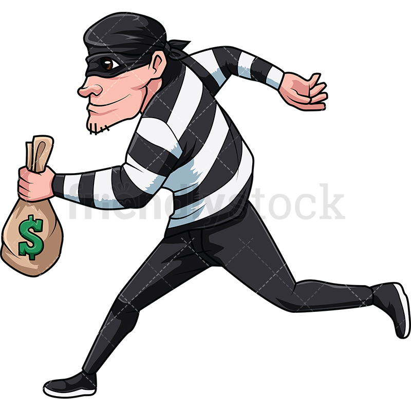 Thief Running With Bag Of Money.