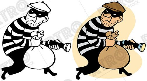 A robber sneaks off with a bag of loot vintage retro clipart clip.