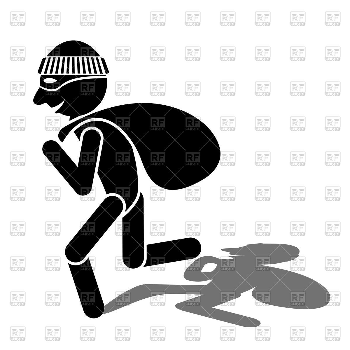 Cartoon thief silhouette and shadow Stock Vector Image.
