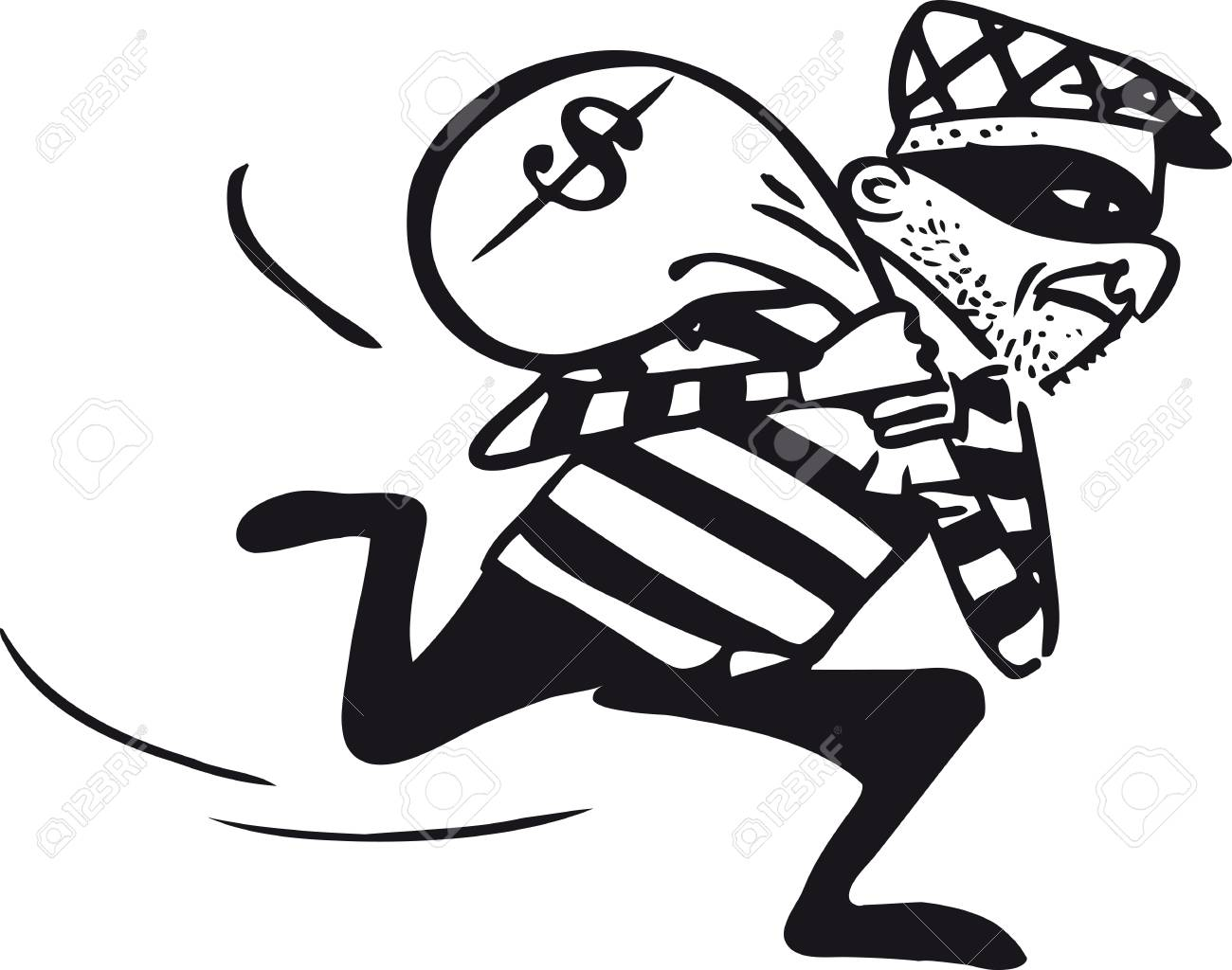 Running thief, Retro Vector Illustration.