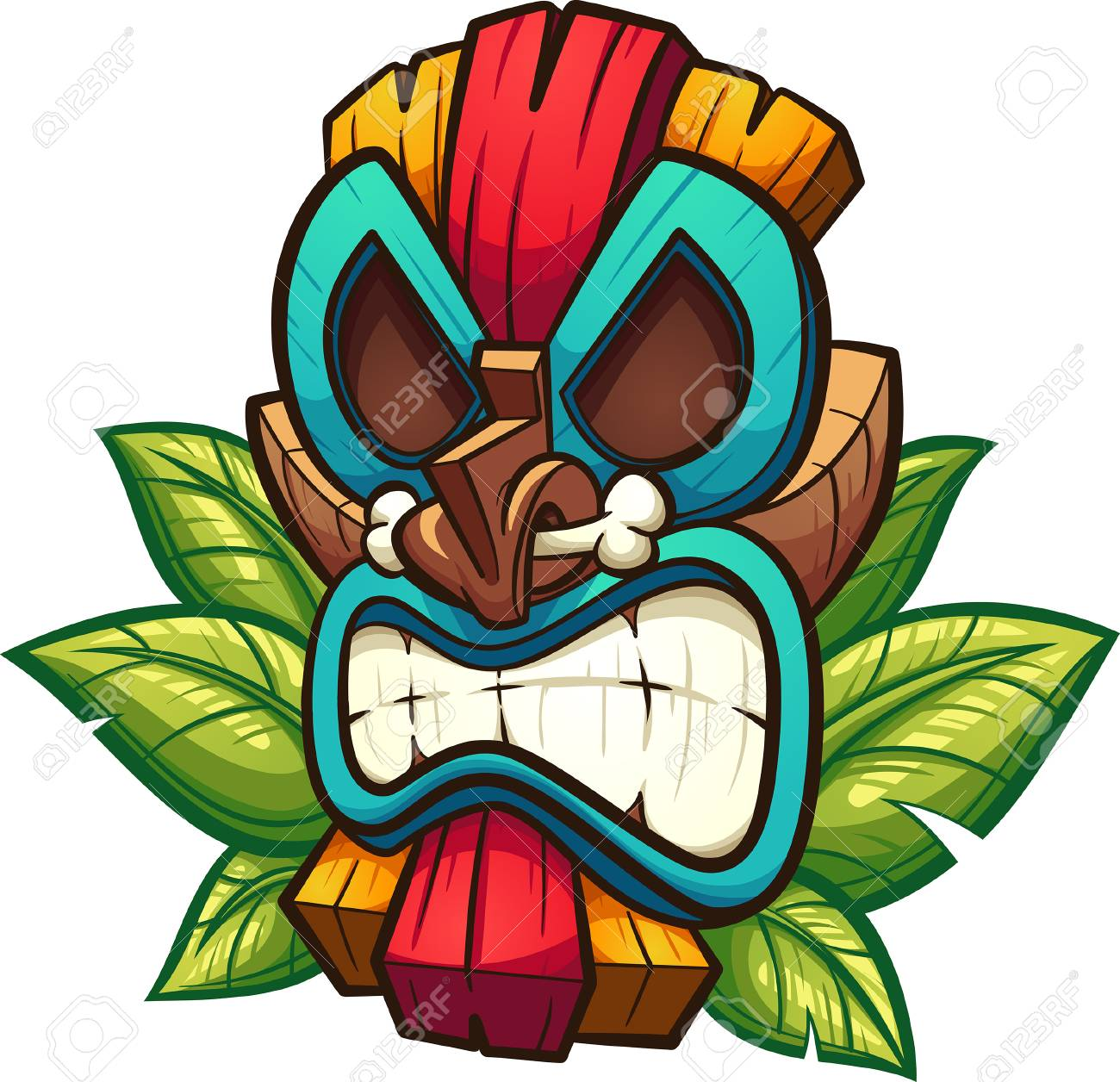 Cartoon colorful tiki mask with leaves. Vector clip art illustration...