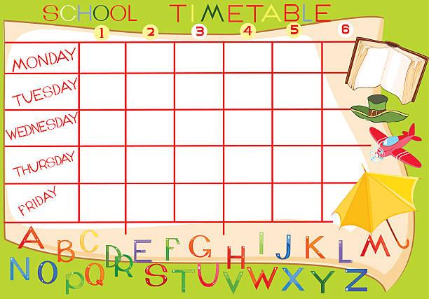 Best School Timetable Cartoon Illustrations, Royalty.
